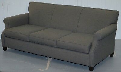 Lovely Rrp £3500 Bernhardt Sharktooth Linen Grey Upholstery Contemporary Sofa