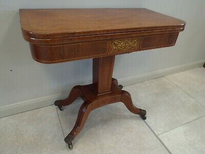 Antique Regency Period Rosewood & Brass Inlaid Card Table