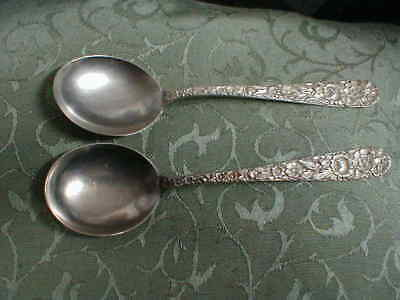 "Two Vintage S. Kirk & Son Sterling Silver Repousse 6 1/16"" Soup Spoons"