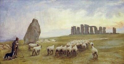 Wall-Art-PRINT-Barclay--Edgar-Returning-Home--Stonehenge--Wiltshire-Poster-or-Ca