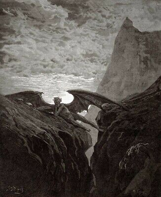 Wall-Art-PRINT-Dore--Gustave-Satan-Resting-On-The-Mountain---from-Miltons-Paradi