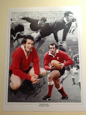 """Welsh Rugby Legend Gareth Edwards - Hand Signed 16"""" X 12"""" picture With COA"""