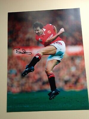 "Manchester Utd - Legend Bryan Robson - Hand Signed - 16"" X 12"" picture With COA"