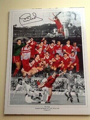 "Liverpool - Phil Neal - Hand Signed ** 16"" X 12"" picture With COA"