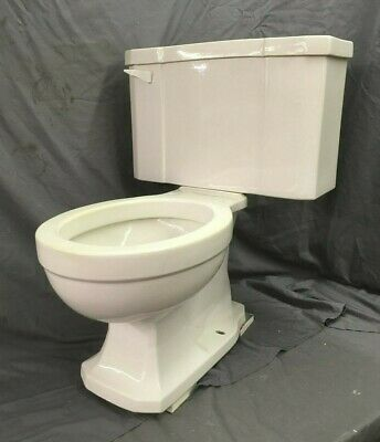 Vtg Art Deco Ceramic White Porcelain Complete Toilet Bowl Tank Lid Case 30-19E