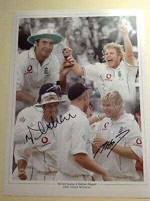 """Cricket, Vaughan & Hoggard - Hand Signed by 2 ** 16"""" X 12"""" picture With COA"""
