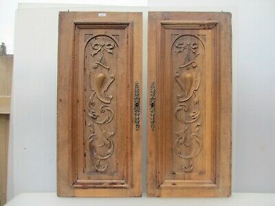 Victorian Carved Wooden Panels Plaques Doors Vintage Antique French Old Wood