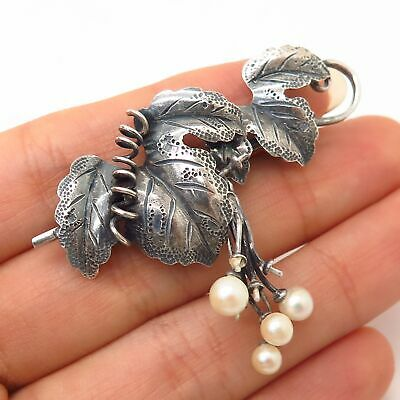 925 Sterling Silver Antique Real Pearl Grape Cluster Design Pin Brooch