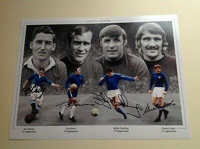 """Chelsea, Bentley, Harris, Tambling, Cooke,  Signed by 4 16"""" X 12"""" picture - COA"""