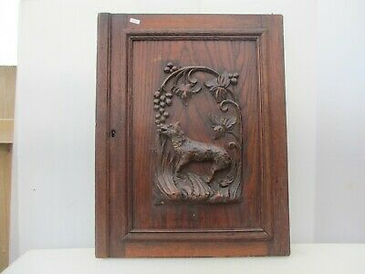 Victorian Carved Wooden Panel Plaque Door Antique French Old Wood Wolf Fox Dog