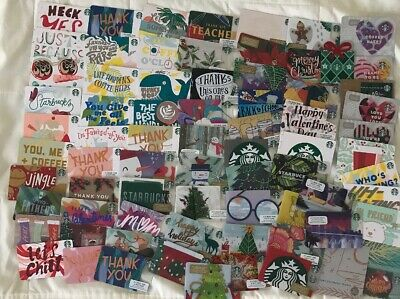 Lot x 70+ Starbucks Gift Cards Assorted EACH DIFFERENT, Die Cuts Recycle Mint