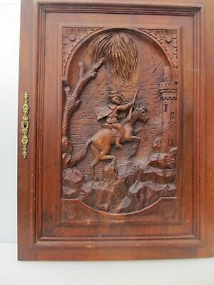 Victorian Carved Wooden Panel Plaque Door Antique French Old Wood Horse Castle