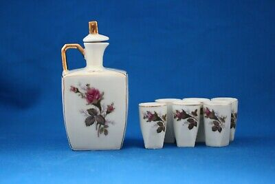 Sake Porcelain Square Pitcher Set Applied Red Roses With 6 Matching Cups
