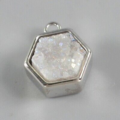 9mm Natural Agate Druzy Titanium AB Bezel Charm One Bail Silver Plated T074992