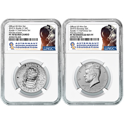 2019-S 50c Apollo 11 50th Ann. Half Dollar 2pc. Set NGC PF70 FDI ASF Label