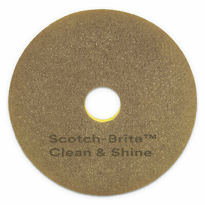 "Scotch-Brite Clean and Shine Pad, 20"" Diameter, Yellow/Gold, 5/Carton 09541"
