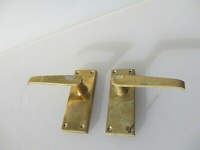 Late Vintage Brass Lever Door Handles Old Architectural Salvage