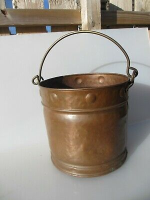 Victorian Brass Coal Bin Bucket Tub Rivets Antique Old Planter Arts & Crafts