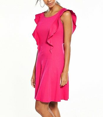 NEW V by Very Frill Dress - HOT PINK - SIZE 8
