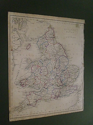 100% Original England Wales   Map By Hughes C1848 Vgc Free Uk Post