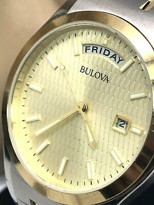 Bulova 98C60 Men's Two Tone Stainless Steel Day Date Quartz Watch FOR REPAIR