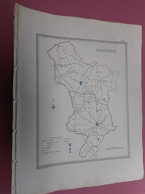 100% Original Derbyshire Map By Creighton C1842 Vgc