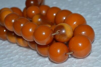 ANTIQUE Natural Butterscotch Egg Yolk Baltic Amber Necklace Beads 53.6g Chinese
