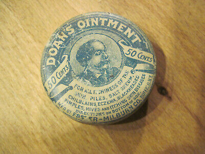1925 Vintage Doans Ointment Tin Advertising Medicine Antique Drug Pharmacy Can