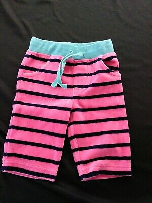Mini Boden Baby Infant Girls Pink Navy Blue Stripe Velvet Velour Pants 0-3 mths