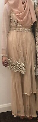 Indian/Pakistani Peach Gharara Suit - Wedding/Occassion/Party Wear - Large Size