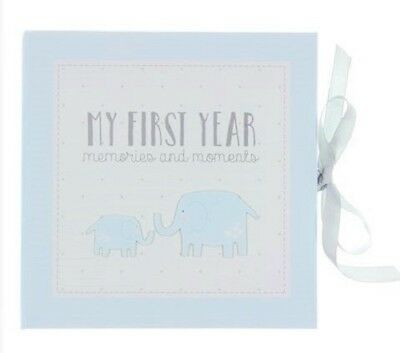 Petit Cheri MY FIRST YEAR Blue RECORD MEMORY BOOK Keepsake Baby Boy Shower Gift