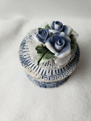 Old Clay/ceramic jewelry box  Blue Floral Design /piled Up Ceramic Flowers