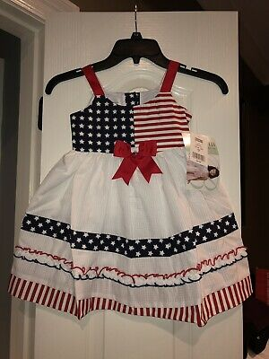 4a64fc96a9 NWT Girls Bonnie Jean Red White Blue Bow Fourth Of July Patriotic Dress