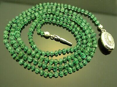 Natural Green Faceted Columbian Emerald Gemstone Hand Knotted Bead Necklace 26""