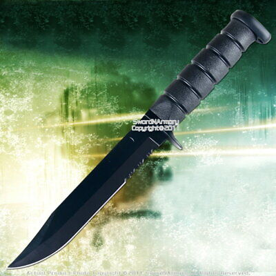 """11.5"""" Black Full Tang Fixed Blade Combat Knife Half Serrated with Sheath"""