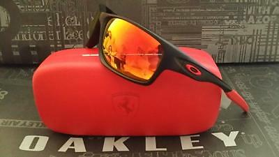 e08ebd26ff New Oakley Polarized Canteen Ferrari Sunglasses Matte Black Ruby Iridium   260