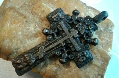 "RARE LARGE 18-19th CENTURY ORTHODOX ""OLD BELIEVERS"" ORNATE ""SUN"" CROSS"