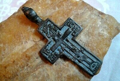 "ANTIQUE 18-19th CENTURY ""OLD BELIEVERS"" ORTHODOX CROSS PSALM 68 with BLUE ENAMEL"