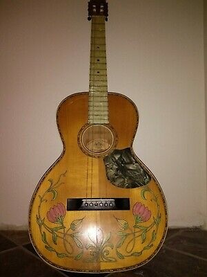 Vintage 1920s Regal Parlor Acoustic Guitar Inlay Tulips Rare PROJECT NEEDS TLC