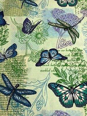 Cranston 2005 Butterflies Dragonflies Dragonfly Butterfly Floral Fabric BTHY
