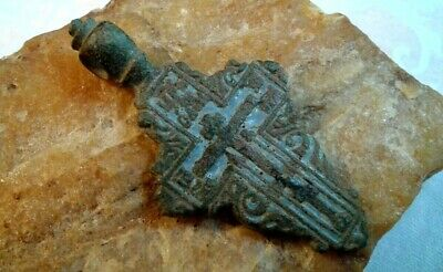 "ANTIQUE 18-19th CENTURY ORTHODOX ""OLD BELIEVERS"" ORNATE CROSS PSALM 68 w/ ENAMEL"