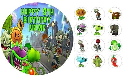 Plants vs Zombies Edible Icing Cake Topper 19cm + 12 Cupcake Toppers PRE-CUT