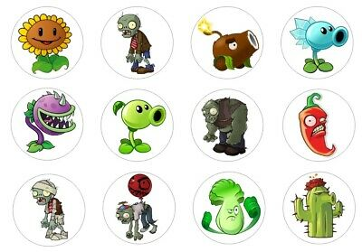 Plants vs Zombies Cupcake Toppers Edible Icing 3 sizes PRE-CUT 12 or 24