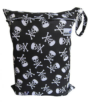 Waterproof Reusable Wet & Dry Bag for Swim wear/Cloth Nappies/Clothes - Skulls