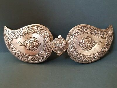 ANTIQUE Ottoman Thracian Hand-forged silver alloy belt buckle double head eagle