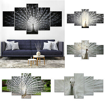 White Peacock Peafowl Bird Canvas Print Painting Framed Home Decor Wall Art 5Pcs
