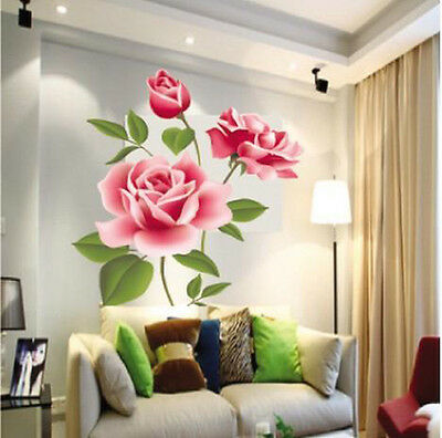 Vintage Rose flower Wall Stickers Removable Decal DIY Art Home Decor 500×700mm