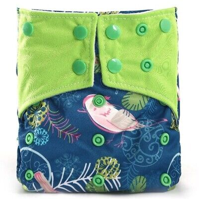 Reusable One Size Baby Diaper Waterproof Double Gussets Charcoal Bamboo Cloth