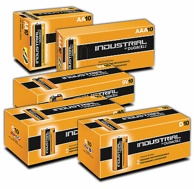 Duracell Industrial Alkaline Batteries (Box of 10) AA AAA C D PP3 9V