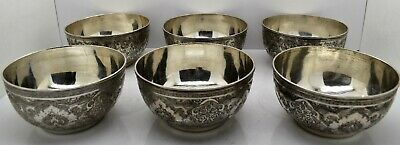 Pretty set x 6 PERSIAN solid silver FINGER BOWLS, BIRDS. SIGNED c1930, 1152gm